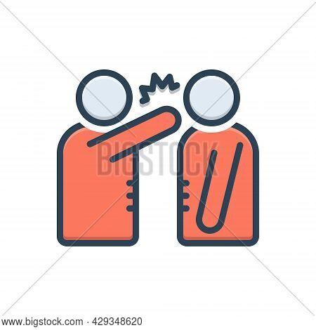 Color Illustration Icon For Neglect Disregard Unhappy Fight Slap