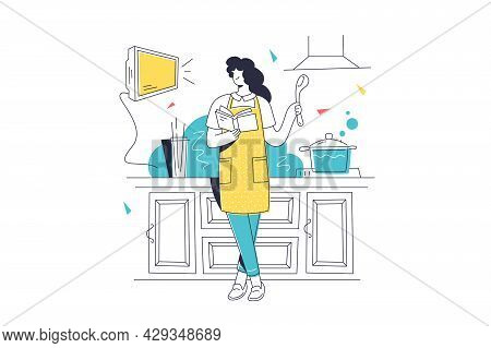 Woman Cooking Meal On Kitchen. Vector Female Character Follow Recipe In Cookbook Line Art Style. Cul