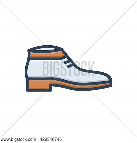 Color Illustration Icon For Shoes Fashion Trendy Sport Sneakers Footwear Wear Shoelace Workout Acces