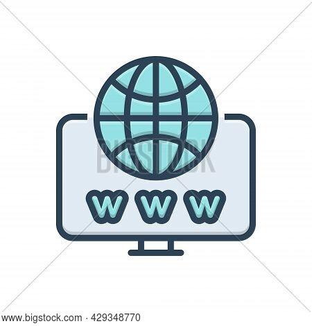 Color Illustration Icon For Web Website Internet Social Globe Www
