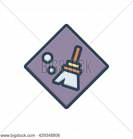 Color Illustration Icon For Clear Distinguishable Neat Tidy Broomstick