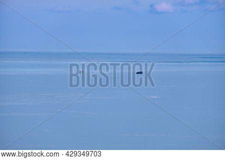 Vanino, Russia - Jan 18, 2021: Vanino Bay In The Tatar Strait In Winter. The Frozen Sea