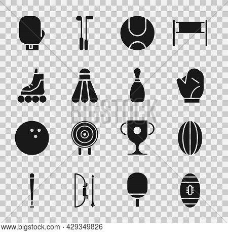 Set American Football Ball, Rugby, Baseball Glove, Tennis, Badminton Shuttlecock, Roller Skate, Boxi