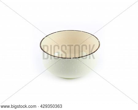 Empty Circle Beige Ceramic Bowl With Brown Rim And White Small Pattern Isolated On A White Backgroun