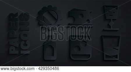 Set Glass Of Whiskey, Wine Glass, Whiskey Bottle, Vodka, Cheese And Bottle Cap Icon. Vector