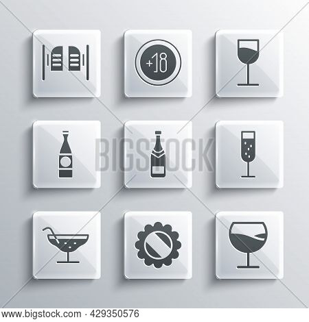 Set Bottle Cap, Wine Glass, Glass Of Champagne, Champagne Bottle, Cocktail, Beer, Saloon Door And Ic