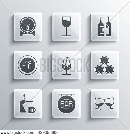 Set Street Signboard With Bar, Glass Of Cognac Or Brandy, Wooden Barrels, Cocktail, Beer Tap Glass,