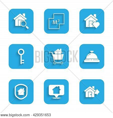 Set Shopping Cart With House, Location, Sale, Hotel Service Bell, House Under Protection, Key, Heart