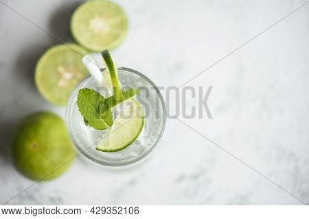 Exotic Summer Drinks Refreshing Of Cold Drinks Glasses Fresh Fruit On Ice Homemade Cocktail Tea With