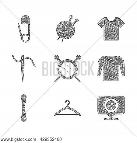Set Sewing Button And Knitting Needles, Hanger Wardrobe, Location Tailor Shop, Sweater, Yarn, Needle