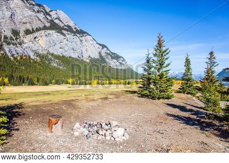 Scenic shores of Abraham Lake. Great Indian summer in the Canadian Rockies. The yellow foliage of birches and aspens is mixed with green conifers.