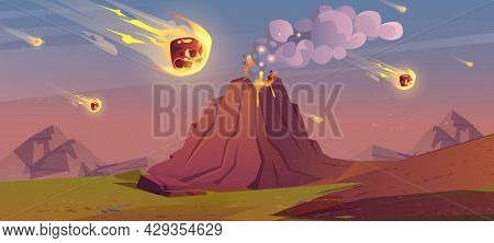 Jurassic Period Landscape With Erupted Volcano And Falling Meteorites. Prehistoric Era Of Earth, Met