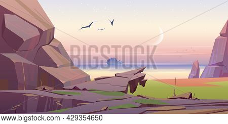 Seascape View With Cruise Liner On Morning Sea, Scenery Landscape, Picturesque Nature Background Wit