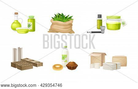 Hemp And Cannabis Sativa Production And Processing Vector Set