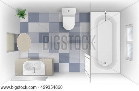 Top View To Bathroom With Bath, Sink And Toilet Bowl. Vector Realistic Interior Of Modern Washroom W