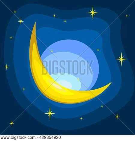 Vector Illustration Of Yellow Crescent Moon. Yellow Half Moon And Stars. Blue Night Sky. Sparkling M