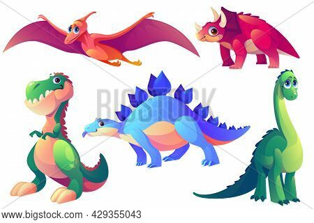 Set Of Cartoon Dinosaurs Stegosaurus, Brontosaurus, Tyrannosaurus Rex And Pterodactyl With Tricerato
