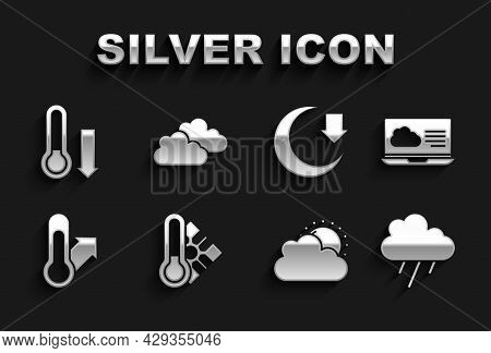 Set Meteorology Thermometer, Weather Forecast, Cloud With Rain, Sun And Cloud Weather, Moon, And Ico