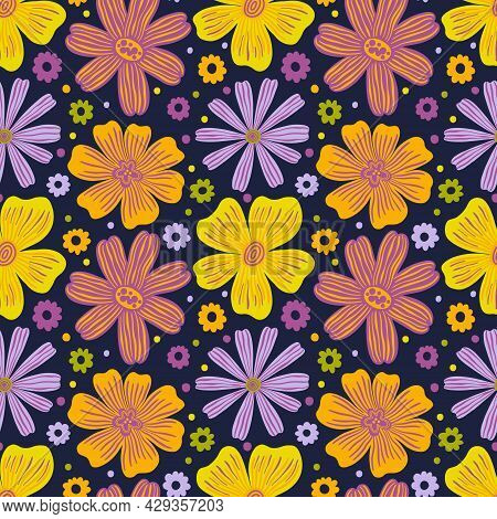 Seamless Pattern Botanical Floral Bud Flower.nature Background Print.decorative Wallpaper