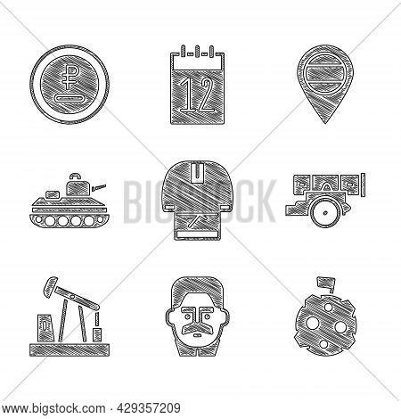 Set Kosovorotka, Joseph Stalin, Moon With Flag, Cannon, Oil Pump Pump Jack, Military Tank, Location