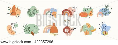 Set Of Clay Vases With Potted Dry Plants, Leaves, Branches With Berries And Abstract Geometric Shape