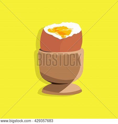 Vector Illustration Of Soft Boiled Egg In The Egg Cup. Soft Boiled Egg In The Yellow Background. Run