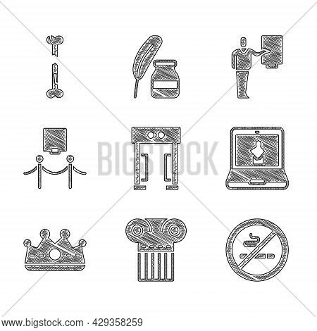 Set Metal Detector, Ancient Column, No Smoking, Online Museum, King Crown, Picture And Rope Barrier,