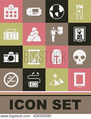 Set Picture, Human Skull, Portrait In Museum, Earth Globe, Rock Stones, Exit Sign, Information And M