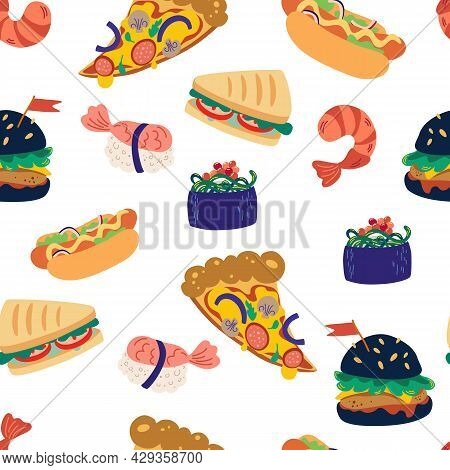 Seamless Pattern With Fast Food. Burger, Pizza, Sushi, Shrimp And Sandwich. Tasty Unhealthy Meals. D