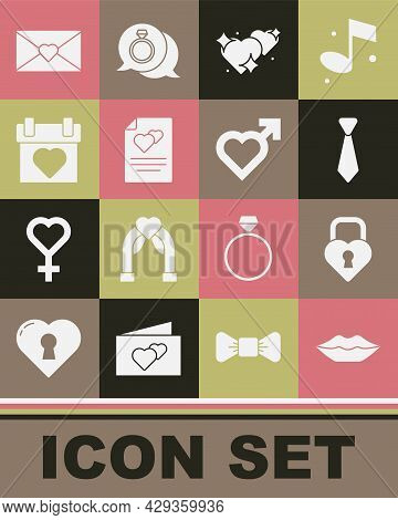 Set Smiling Lips, Castle The Shape Of Heart, Tie, Two Linked Hearts, Greeting Card, Calendar, Envelo