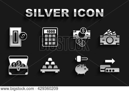 Set Gold Bars, Stacks Paper Money Cash, Pos Terminal, Piggy Bank And Hammer, Treasure Chest, Inserti
