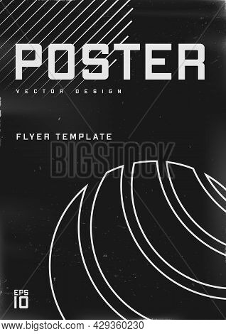 Retrofuturistic Poster Design With Circle Striped Shape. Cyberpunk 80s Style Poster With Circle Line