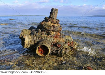 Remnants Of A Shipwreck At Million Dollar Point In Vanuatu