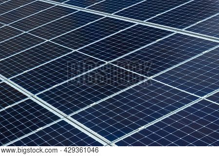 Fragment Of Solar Panels Or Photovoltaic Pv Module. Concept Renewable Energy Background