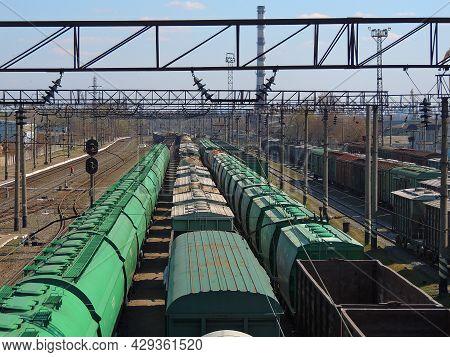 Freight Cars Trains On A Railroad Hub