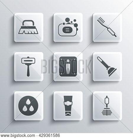 Set Tube Of Toothpaste, Toilet Brush, Rubber Plunger, Male Toilet, Water Drop, Shaving Razor, Brush