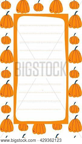 Cute Vector Note List Template For Kids. Memo Card On Background With Orange Pumpkins In Hand Drawn