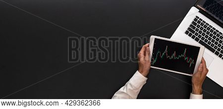 Candlestick Chart. Investment Business Technology App On Digital Screen. Finance Application For Sel