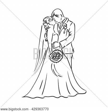 Bride And Groom Sketch - Vector The Bride And Groom Vector Sketch