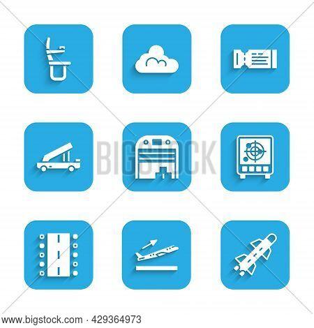 Set Aircraft Hangar, Plane Takeoff, Rocket, Radar With Targets On Monitor, Airport Runway, Passenger