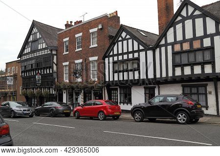 Chester, Great Britain - September 14, 2014: These Are Medieval Stonework And Half-timbered Historic