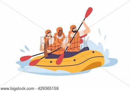 People Swimming In Inflatable Boat, Rowing With Paddles. Team Of Men And Woman In Helmets Traveling