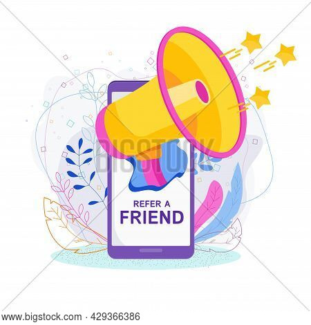 Refer A Friend Concept. Invitation By Referral Program.