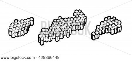 Hoheycombs Full Of Honey. Pieces Of Combs With Hexagonal Cells. Hand Drawn Monochrome Vector Illustr