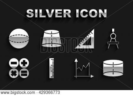 Set Ruler, Drawing Compass, Geometric Figure Cylinder, Graph, Schedule, Chart, Diagram, Calculator,