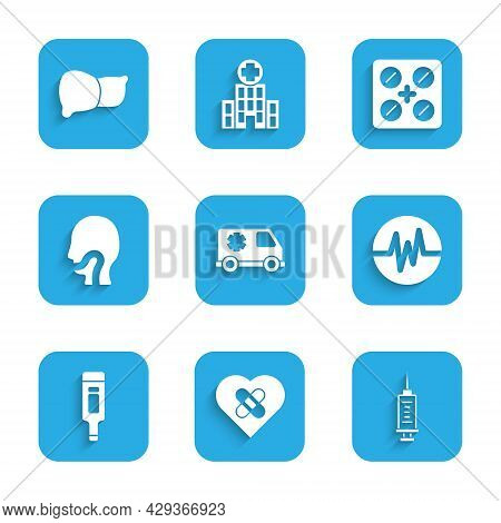 Set Emergency Car, Healed Broken Heart, Syringe, Heart Rate, Digital Thermometer, Sore Throat, Pills