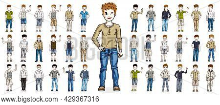 Cute Little Child Boys Early Teenagers In Different Casual Wear Standing In Full Length And Posing V