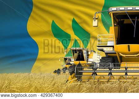 Industrial 3d Illustration Of 3 Yellow Modern Combine Harvesters With Saint Vincent And The Grenadin