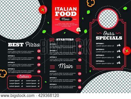 Food Trifold Brochure Menu Template. Vintage Fast Food Menu