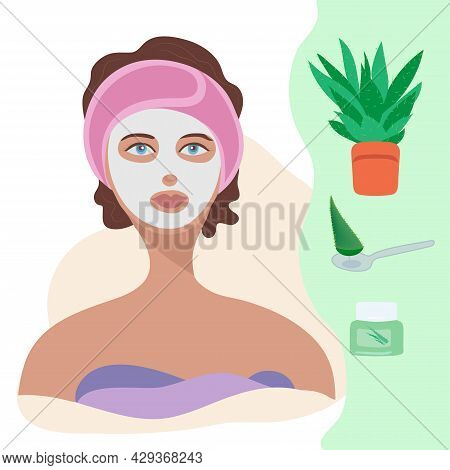 Facial Care For Women. Daily Skin Care. Young Woman Applying Clay Facial Mask On Her Face. Spa Treat